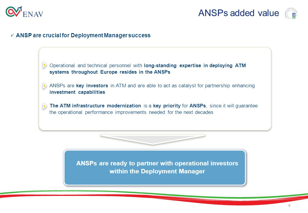 ANSP are crucial for Deployment Manager success ANSPs added value Operational and technical personnel with long-standing expertise in deploying ATM systems throughout Europe resides in the ANSPs ANSPs are key investors in ATM and are able to act as catalyst for partnership enhancing investment capabilities The ATM infrastructure modernization is a key priority for ANSPs, since it will guarantee the operational performance improvements needed for the next decades Operational and technical personnel with long-standing expertise in deploying ATM systems throughout Europe resides in the ANSPs ANSPs are key investors in ATM and are able to act as catalyst for partnership enhancing investment capabilities The ATM infrastructure modernization is a key priority for ANSPs, since it will guarantee the operational performance improvements needed for the next decades 6 ANSPs are ready to partner with operational investors within the Deployment Manager