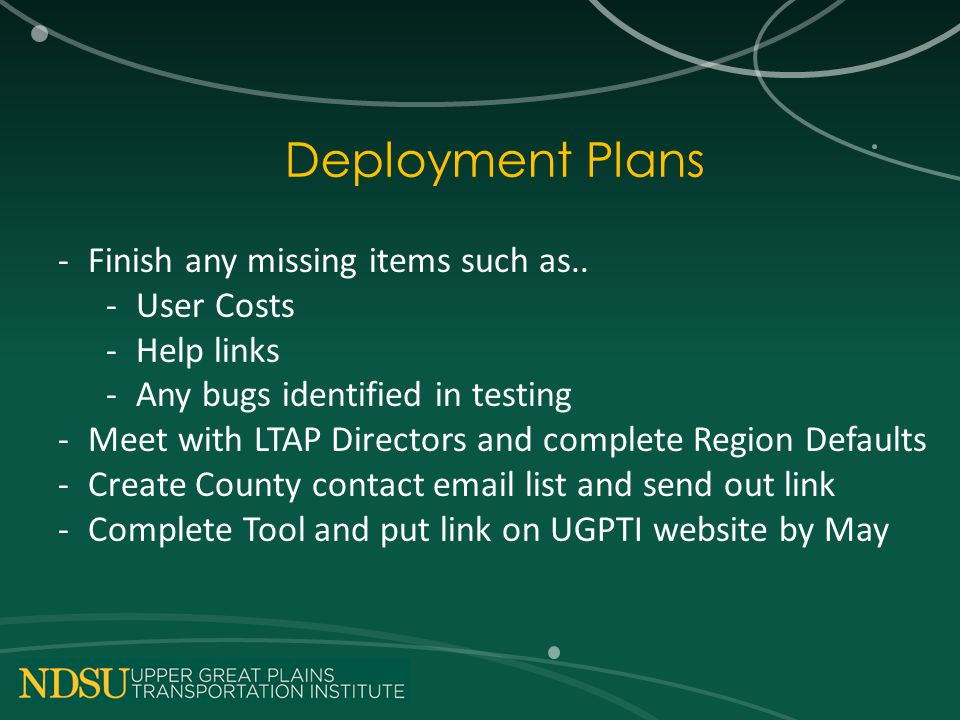Deployment Plans -Finish any missing items such as..