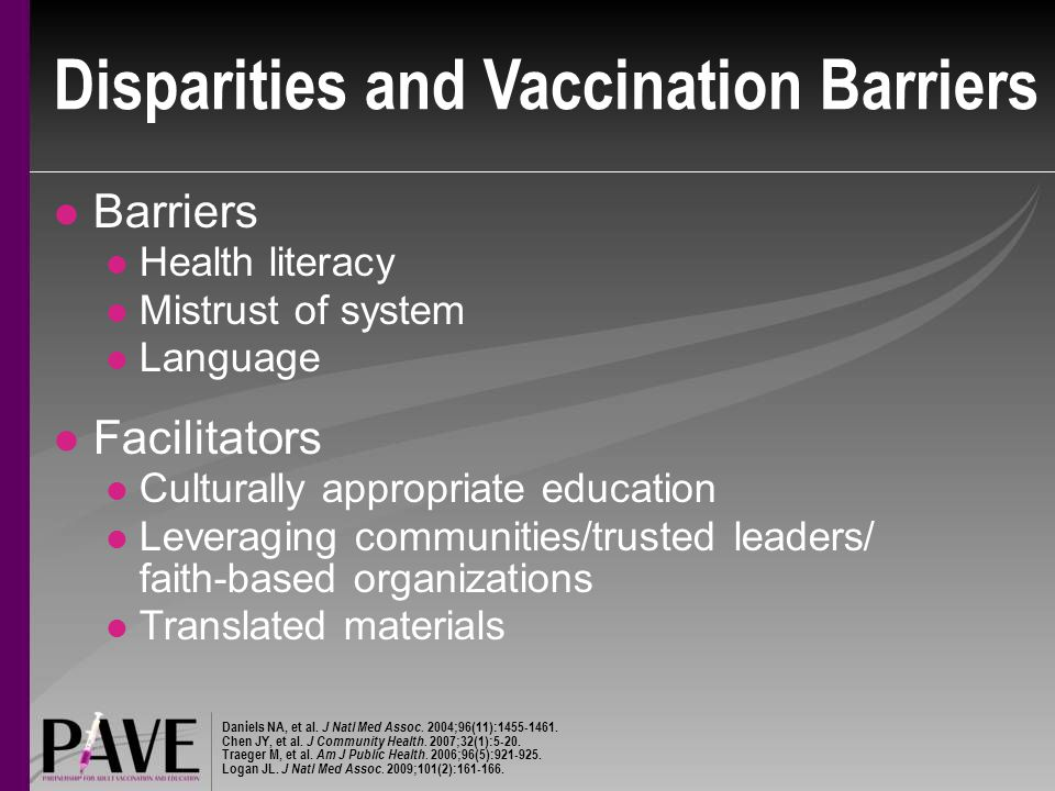 Disparities and Vaccination Barriers Barriers Health literacy Mistrust of system Language Facilitators Culturally appropriate education Leveraging communities/trusted leaders/ faith-based organizations Translated materials Daniels NA, et al.