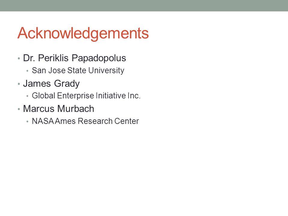 Acknowledgements Dr. Periklis Papadopolus San Jose State University James Grady Global Enterprise Initiative Inc. Marcus Murbach NASA Ames Research Ce