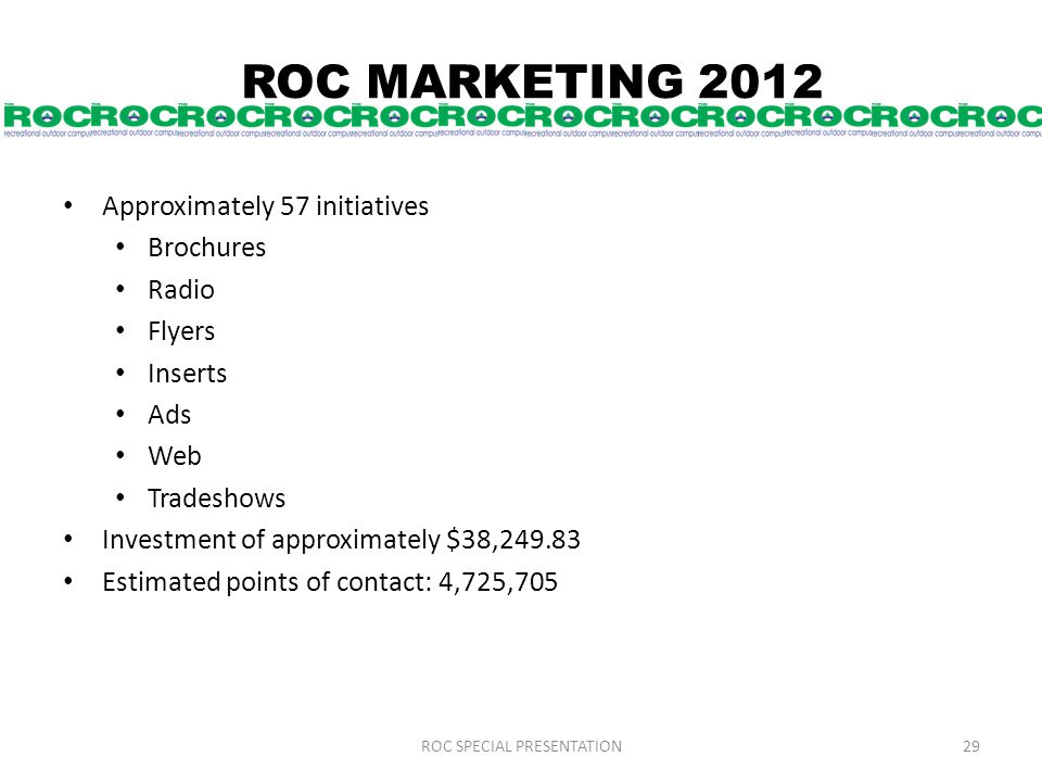 ROC MARKETING 2012 Approximately 57 initiatives Brochures Radio Flyers Inserts Ads Web Tradeshows Investment of approximately $38,249.83 Estimated points of contact: 4,725,705 ROC SPECIAL PRESENTATION29