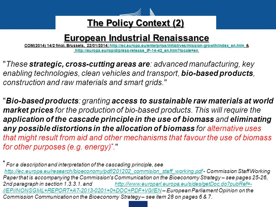 Bioeconomy for Europe Communication COM(2012) 60 final, Brussels, 13.02.2012; http://ec.europa.eu/research/bioeconomy/pdf/201202_innovating_sustainable_growth.pdf http://ec.europa.eu/research/bioeconomy/pdf/201202_innovating_sustainable_growth.pdf Promote the setting up of networks with the required logistics for integrated and diversified biorefineries, demonstration and pilot plants across Europe, including the necessary logistics and supply chains for a cascading use of biomass and waste streams.