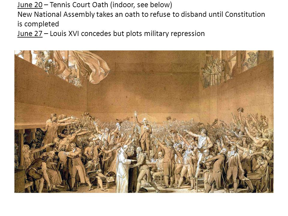 June 20 – Tennis Court Oath (indoor, see below) New National Assembly takes an oath to refuse to disband until Constitution is completed June 27 – Lou