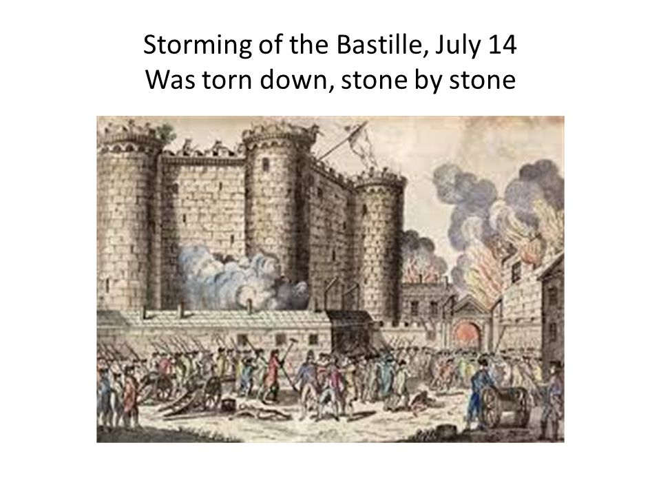 Storming of the Bastille, July 14 Was torn down, stone by stone
