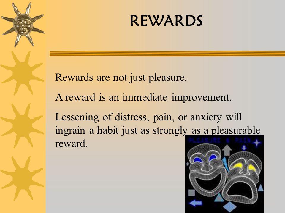 REWARDS Rewards are not just pleasure. A reward is an immediate improvement.