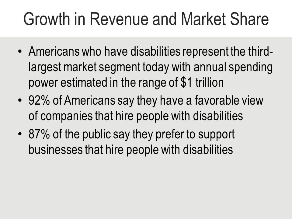 Growth in Revenue and Market Share Americans who have disabilities represent the third- largest market segment today with annual spending power estimated in the range of $1 trillion 92% of Americans say they have a favorable view of companies that hire people with disabilities 87% of the public say they prefer to support businesses that hire people with disabilities