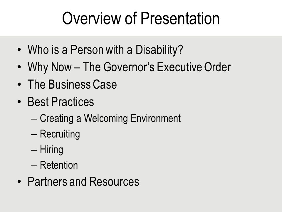 Overview of Presentation Who is a Person with a Disability.