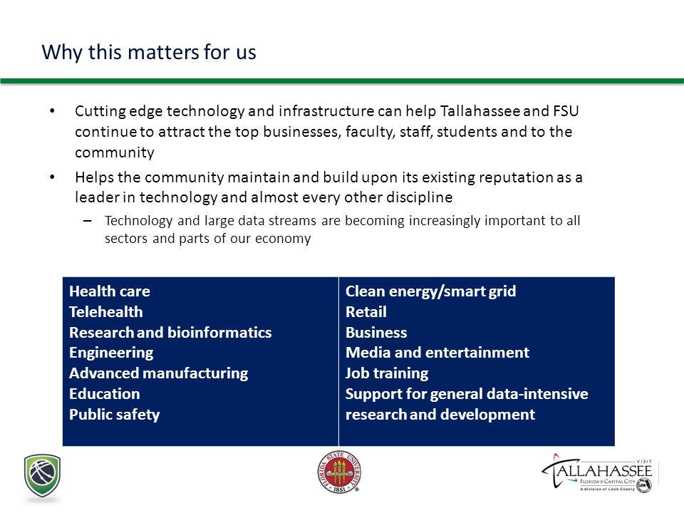 Health care Telehealth Research and bioinformatics Engineering Advanced manufacturing Education Public safety Clean energy/smart grid Retail Business Media and entertainment Job training Support for general data-intensive research and development Why this matters for us Cutting edge technology and infrastructure can help Tallahassee and FSU continue to attract the top businesses, faculty, staff, students and to the community Helps the community maintain and build upon its existing reputation as a leader in technology and almost every other discipline – Technology and large data streams are becoming increasingly important to all sectors and parts of our economy