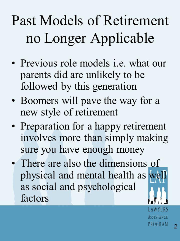Past Models of Retirement no Longer Applicable Previous role models i.e.