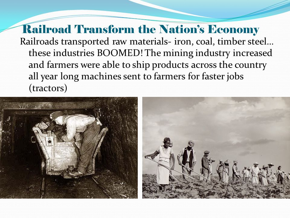 Railroad Transform the Nation's Economy Railroads transported raw materials- iron, coal, timber steel… these industries BOOMED.