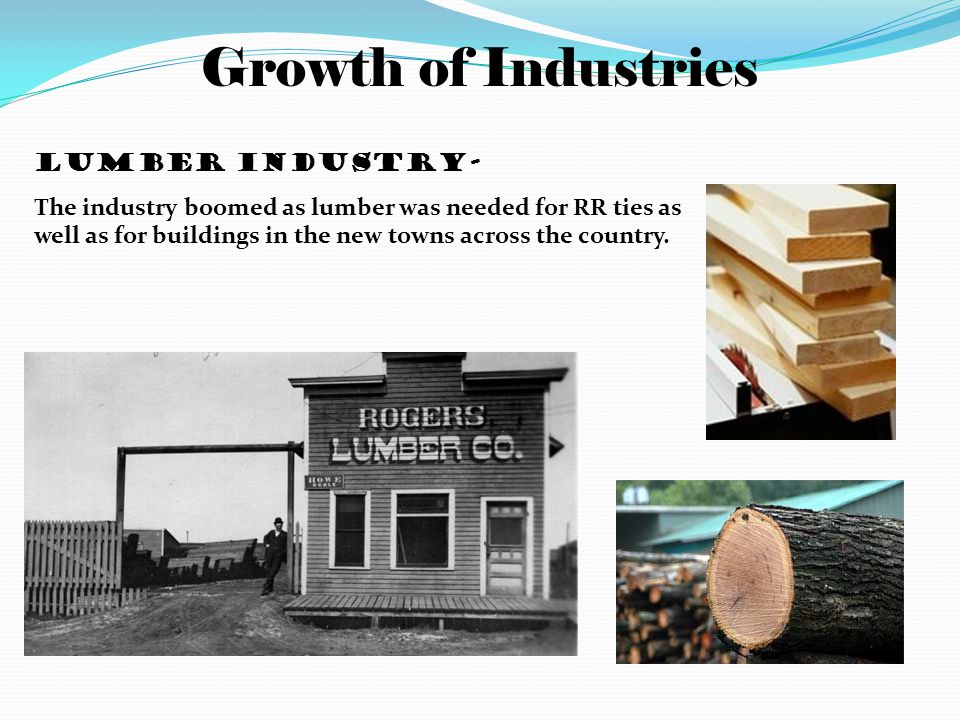 Growth of Industries Lumber industry- The industry boomed as lumber was needed for RR ties as well as for buildings in the new towns across the country.
