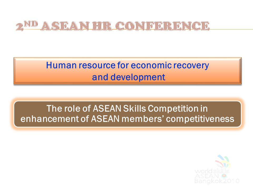 Human resource for economic recovery and development The role of ASEAN Skills Competition in enhancement of ASEAN members' competitiveness