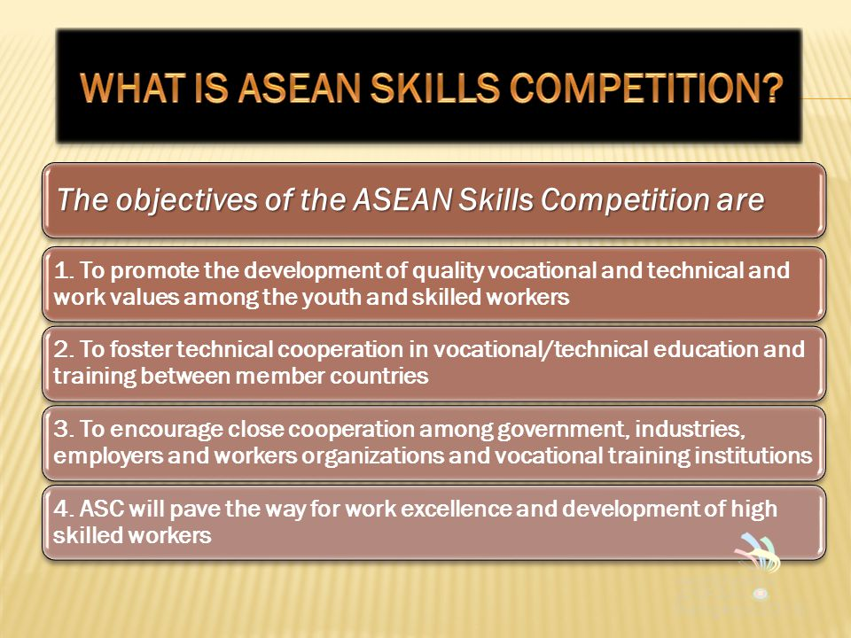 The objectives of the ASEAN Skills Competition are 1.