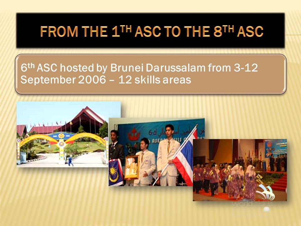 6 th ASC hosted by Brunei Darussalam from 3-12 September 2006 – 12 skills areas
