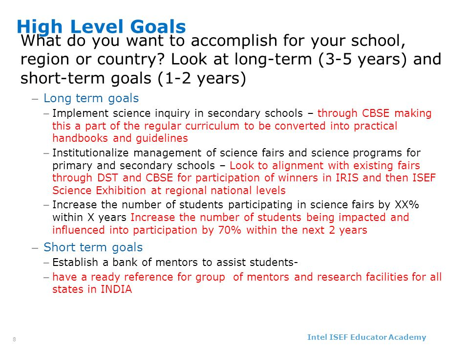 Intel ISEF Educator Academy Intel ® Education Programs 9 Objectives How will you know you succeeded.