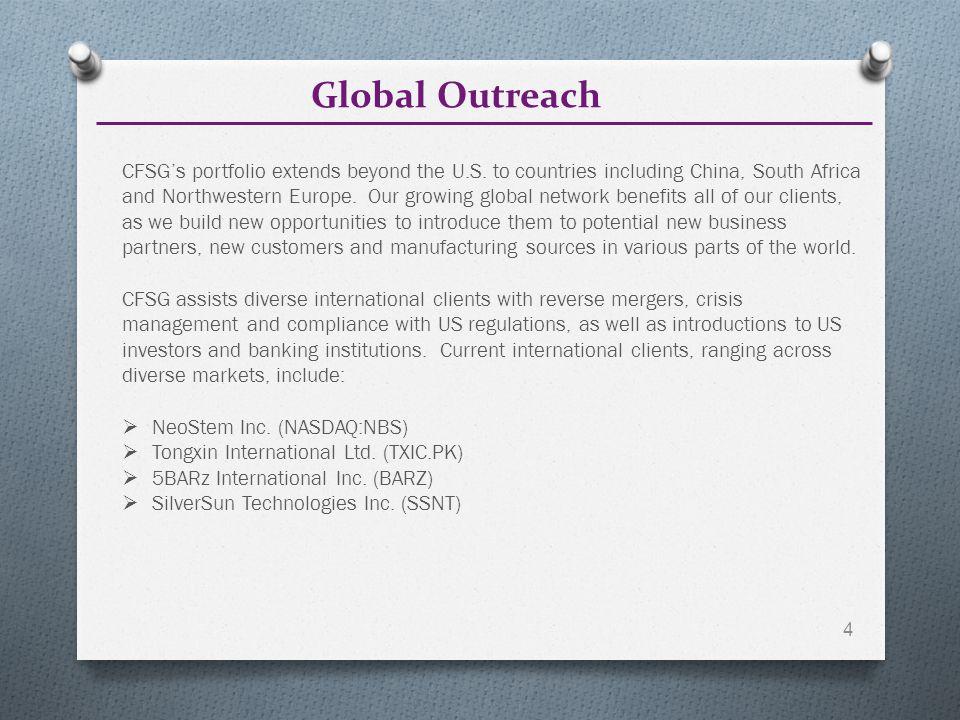 Global Outreach 4 CFSG's portfolio extends beyond the U.S.