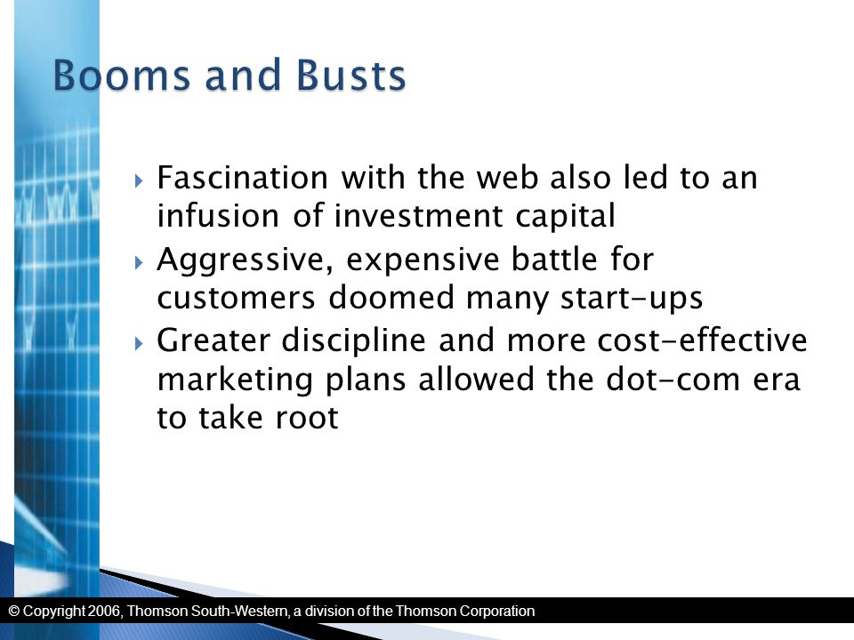 © Copyright 2006, Thomson South-Western, a division of the Thomson Corporation  Fascination with the web also led to an infusion of investment capita