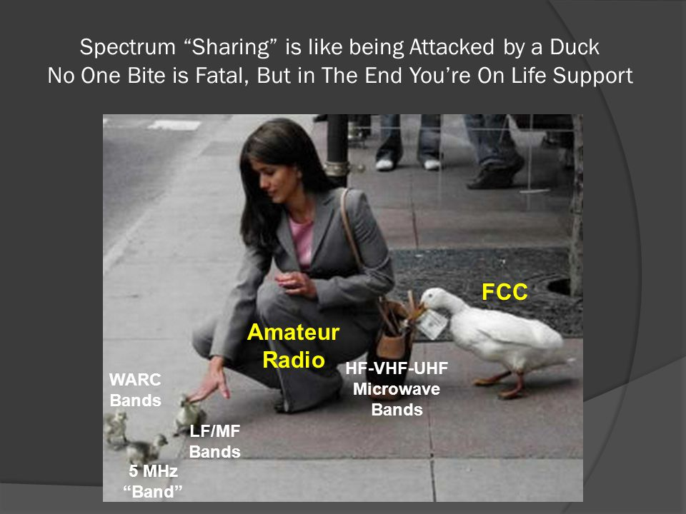 Spectrum Sharing is like being Attacked by a Duck No One Bite is Fatal, But in The End You're On Life Support FCC Amateur Radio HF-VHF-UHF Microwave Bands 5 MHz Band LF/MF Bands WARC Bands