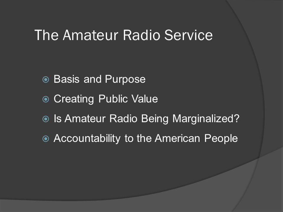 This Program on YouTube: http://youtu.be/xmT1BXyZsy8 Powerpoint Charts www.w6xd.com/Future/AmateurRadio