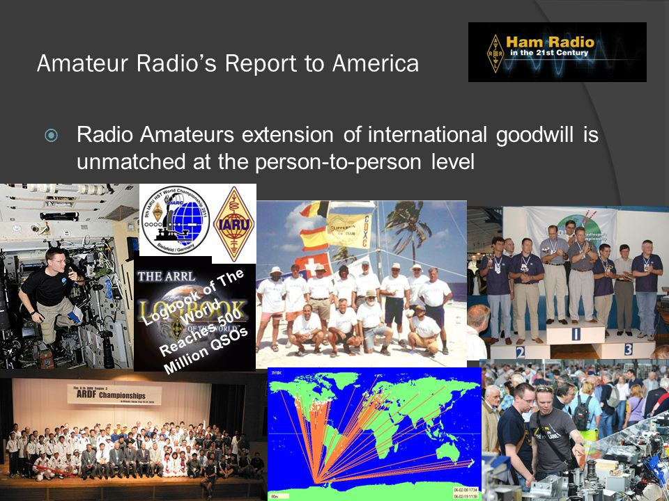 Amateur Radio's Report to America  Radio Amateurs extension of international goodwill is unmatched at the person-to-person level Logbook of The World Reaches 500 Million QSOs