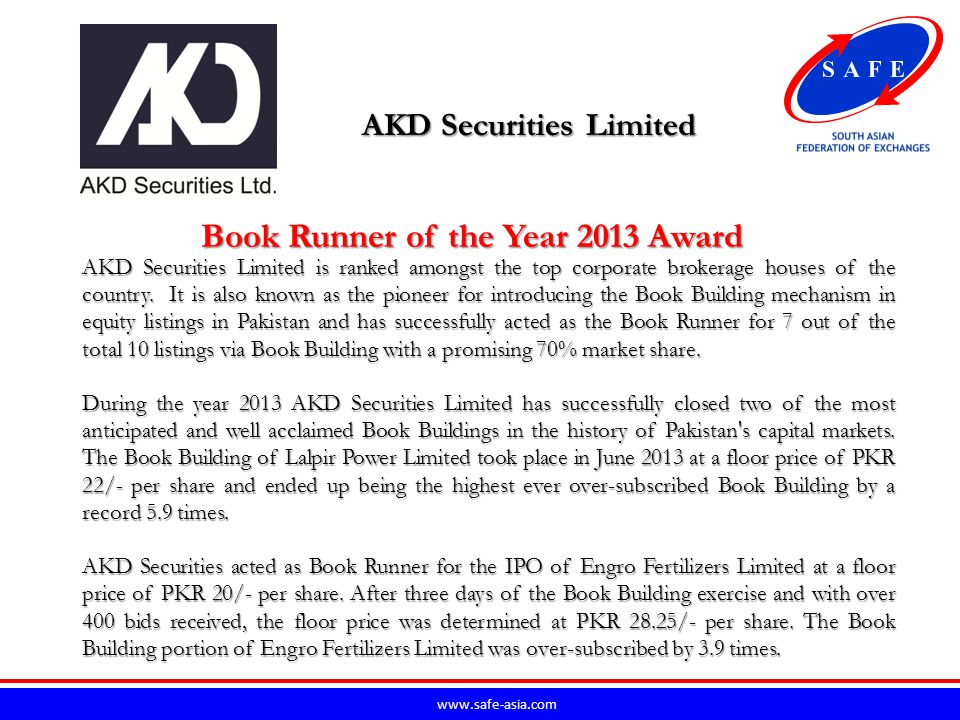 www.safe-asia.com Allied Bank Limited ABL has been playing an active role in development of IPO markets of Pakistan.