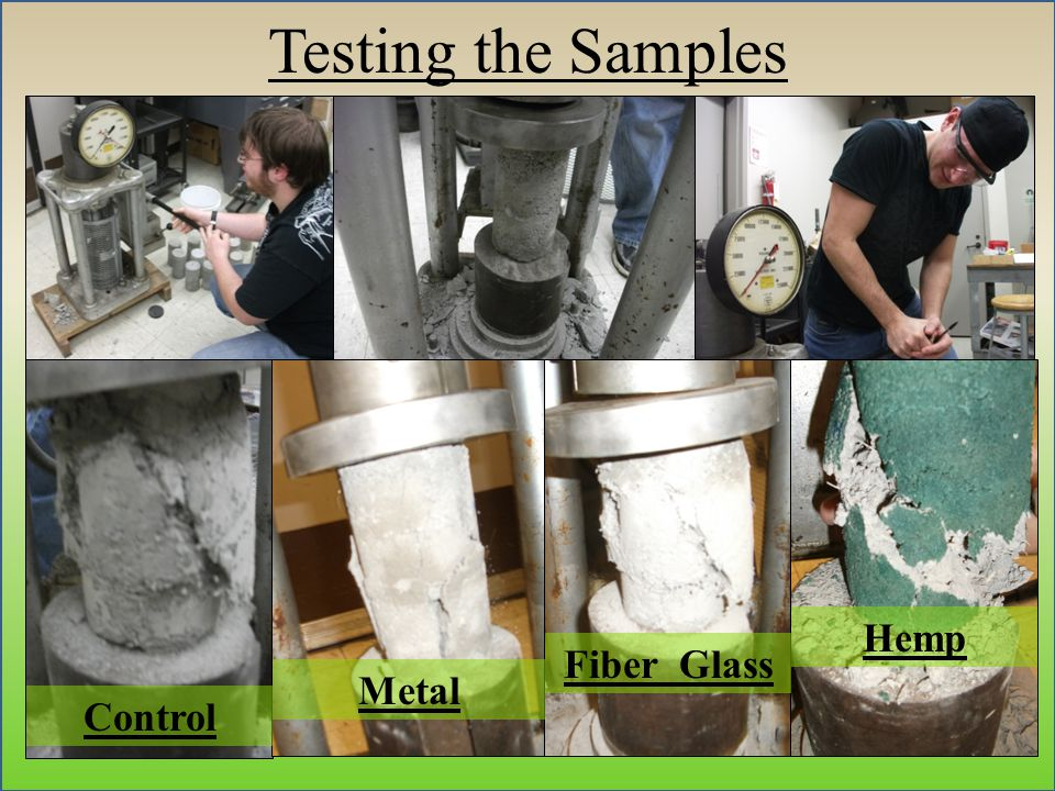 Testing the Samples Control Metal Fiber Glass Hemp