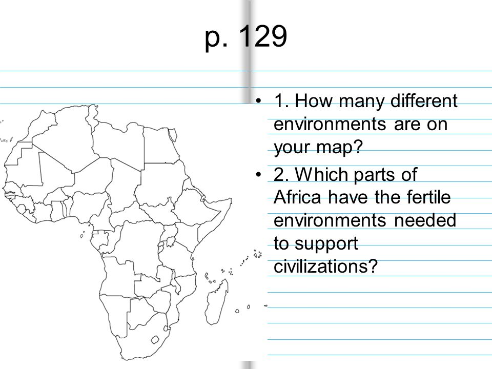p. 129 1. How many different environments are on your map.