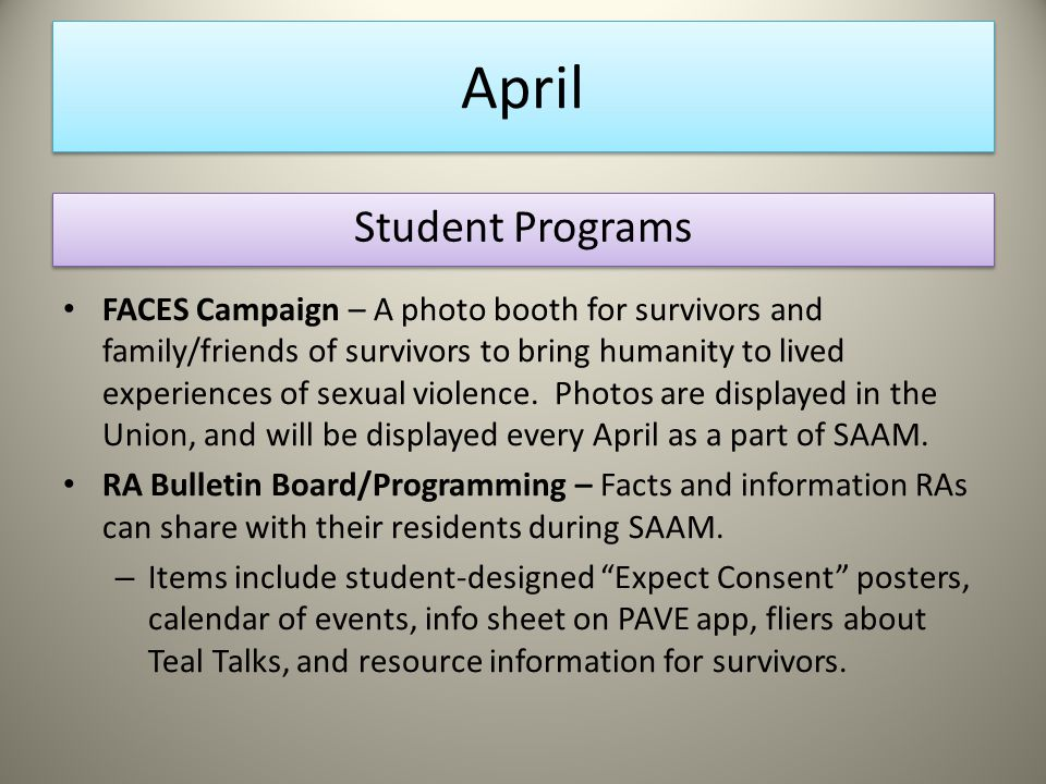 April FACES Campaign – A photo booth for survivors and family/friends of survivors to bring humanity to lived experiences of sexual violence.