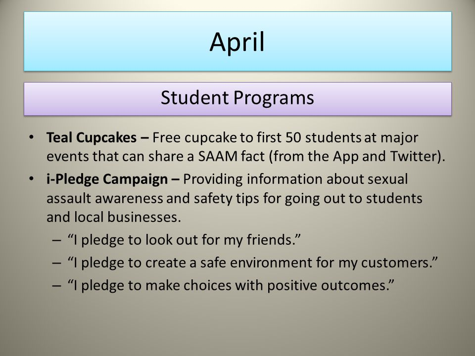 April Teal Cupcakes – Free cupcake to first 50 students at major events that can share a SAAM fact (from the App and Twitter).