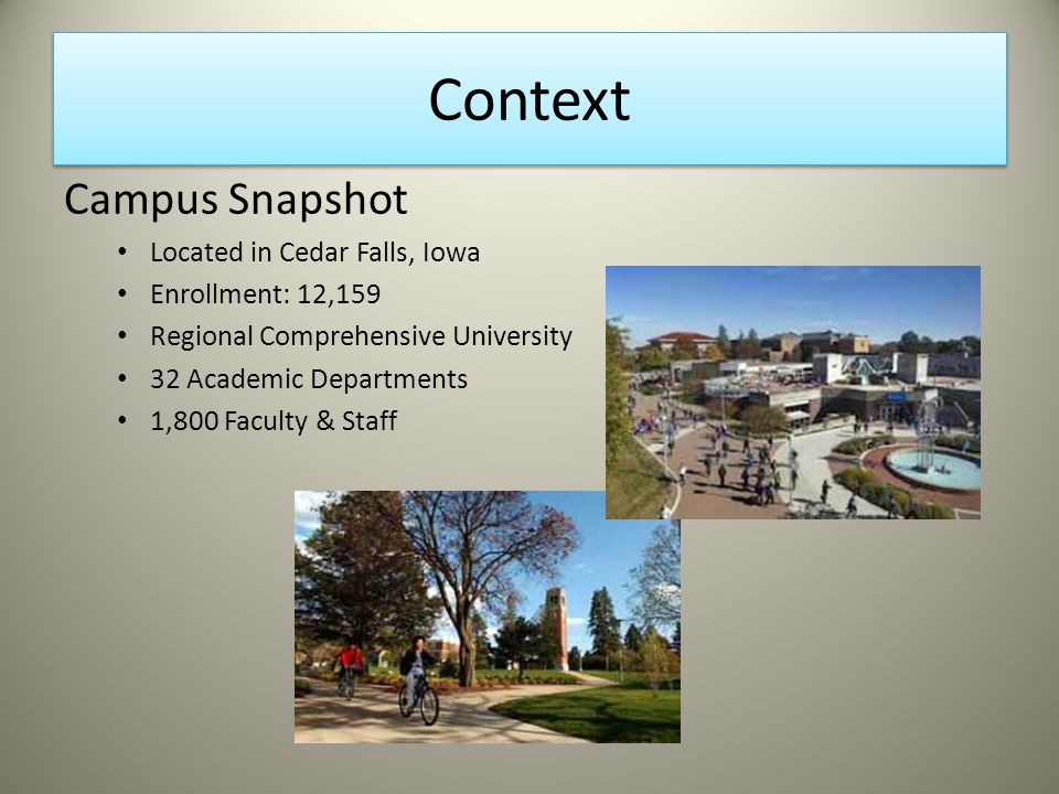 Context Campus Snapshot Located in Cedar Falls, Iowa Enrollment: 12,159 Regional Comprehensive University 32 Academic Departments 1,800 Faculty & Staff