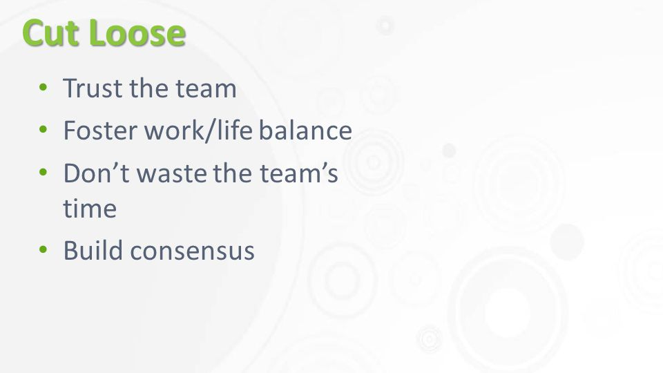 Cut Loose Trust the team Foster work/life balance Don't waste the team's time Build consensus