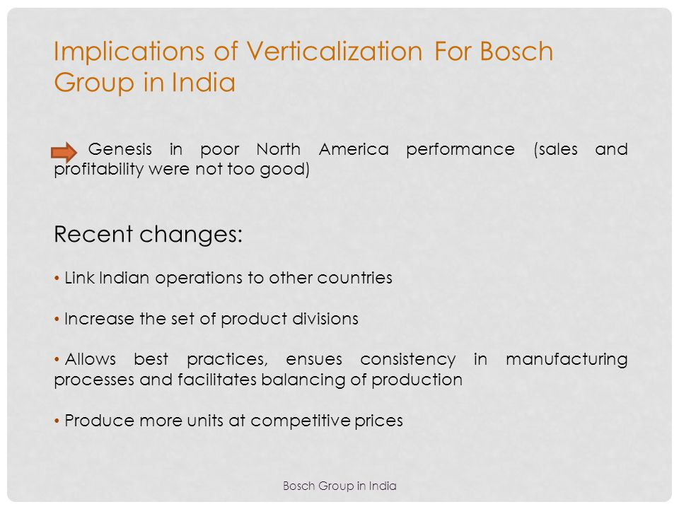 Bosch Group in India Implications of Verticalization For Bosch Group in India Genesis in poor North America performance (sales and profitability were
