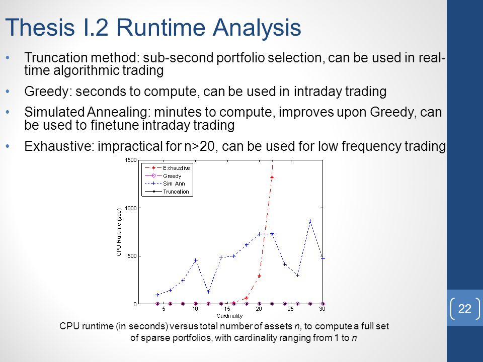 Thesis I.2 Runtime Analysis Truncation method: sub-second portfolio selection, can be used in real- time algorithmic trading Greedy: seconds to compute, can be used in intraday trading Simulated Annealing: minutes to compute, improves upon Greedy, can be used to finetune intraday trading Exhaustive: impractical for n>20, can be used for low frequency trading CPU runtime (in seconds) versus total number of assets n, to compute a full set of sparse portfolios, with cardinality ranging from 1 to n 22