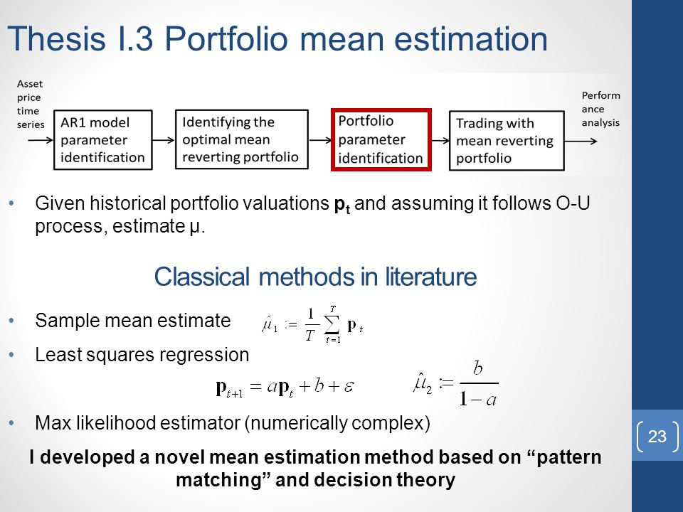 Thesis I.3 Portfolio mean estimation Given historical portfolio valuations p t and assuming it follows O-U process, estimate μ.