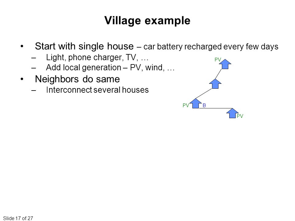 Slide 17 of 27 Village example Start with single house – car battery recharged every few days –Light, phone charger, TV, … –Add local generation – PV, wind, … Neighbors do same –Interconnect several houses BPV