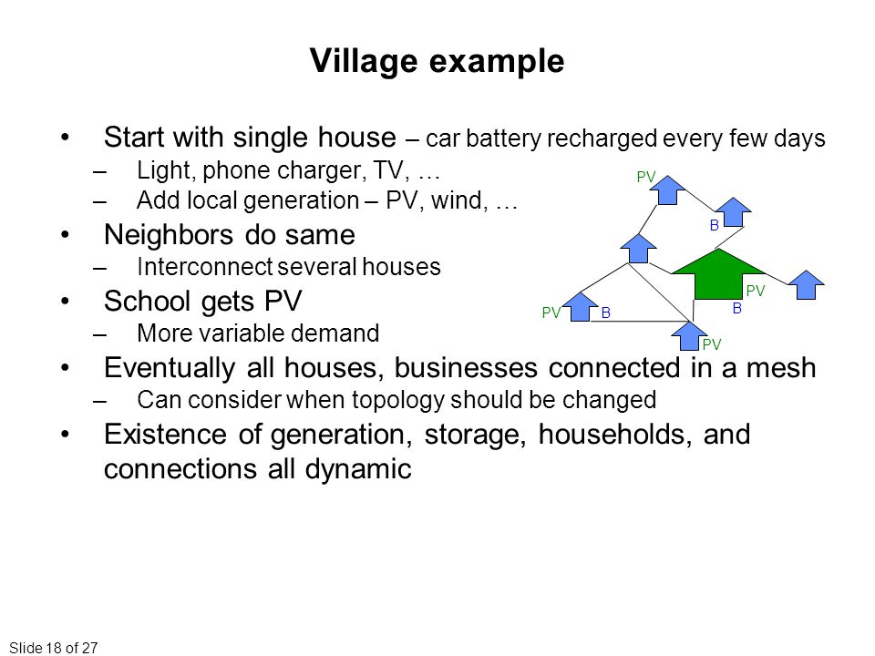 Slide 18 of 27 Village example Start with single house – car battery recharged every few days –Light, phone charger, TV, … –Add local generation – PV, wind, … Neighbors do same –Interconnect several houses School gets PV –More variable demand Eventually all houses, businesses connected in a mesh –Can consider when topology should be changed Existence of generation, storage, households, and connections all dynamic BPV B B