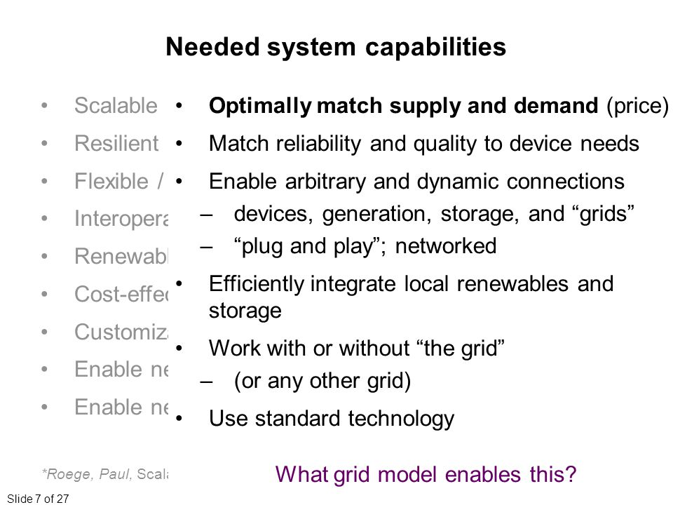Slide 7 of 27 Scalable Resilient Flexible / Ad hoc Interoperable Renewable-friendly Cost-effective Customizable Enable new features Enable new applications *Roege, Paul, Scalable Energy Networks, Joint Forces Quarterly, #62, Q3, 2011 Needed system capabilities Optimally match supply and demand (price) Match reliability and quality to device needs Enable arbitrary and dynamic connections –devices, generation, storage, and grids – plug and play ; networked Efficiently integrate local renewables and storage Work with or without the grid –(or any other grid) Use standard technology What grid model enables this
