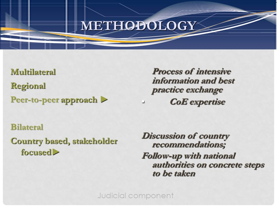 MultilateralRegional Peer-to-peer approach ► Bilateral Country based, stakeholder focused► Process of intensive information and best practice exchange  CoE expertise Discussion of country recommendations; Follow-up with national authorities on concrete steps to be taken Judicial component METHODOLOGY