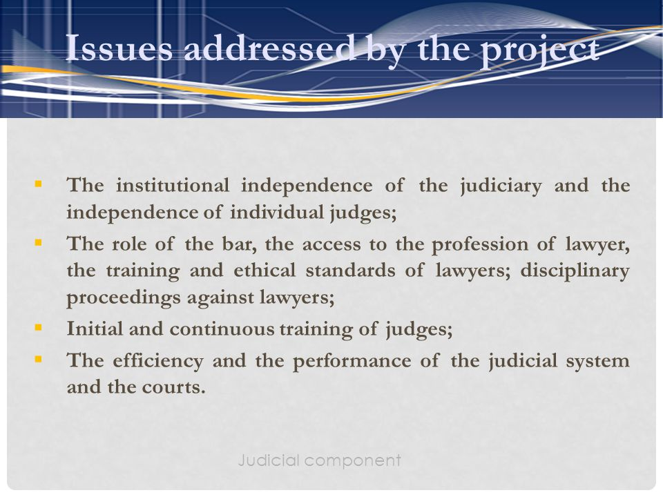  The institutional independence of the judiciary and the independence of individual judges;  The role of the bar, the access to the profession of lawyer, the training and ethical standards of lawyers; disciplinary proceedings against lawyers;  Initial and continuous training of judges;  The efficiency and the performance of the judicial system and the courts.
