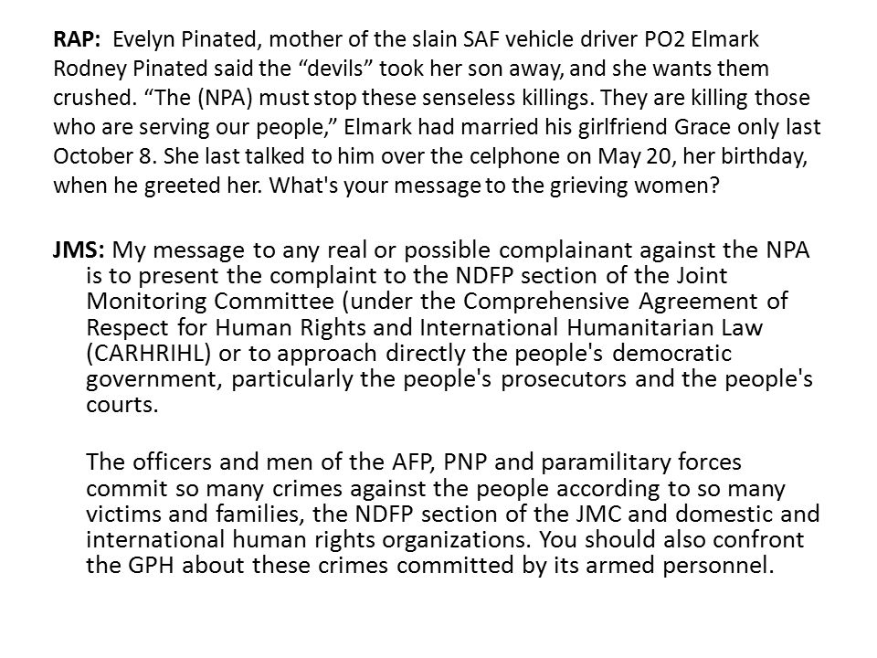 """RAP: Evelyn Pinated, mother of the slain SAF vehicle driver PO2 Elmark Rodney Pinated said the """"devils"""" took her son away, and she wants them crushed."""