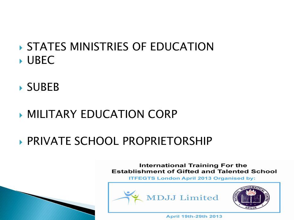  STATES MINISTRIES OF EDUCATION  UBEC  SUBEB  MILITARY EDUCATION CORP  PRIVATE SCHOOL PROPRIETORSHIP