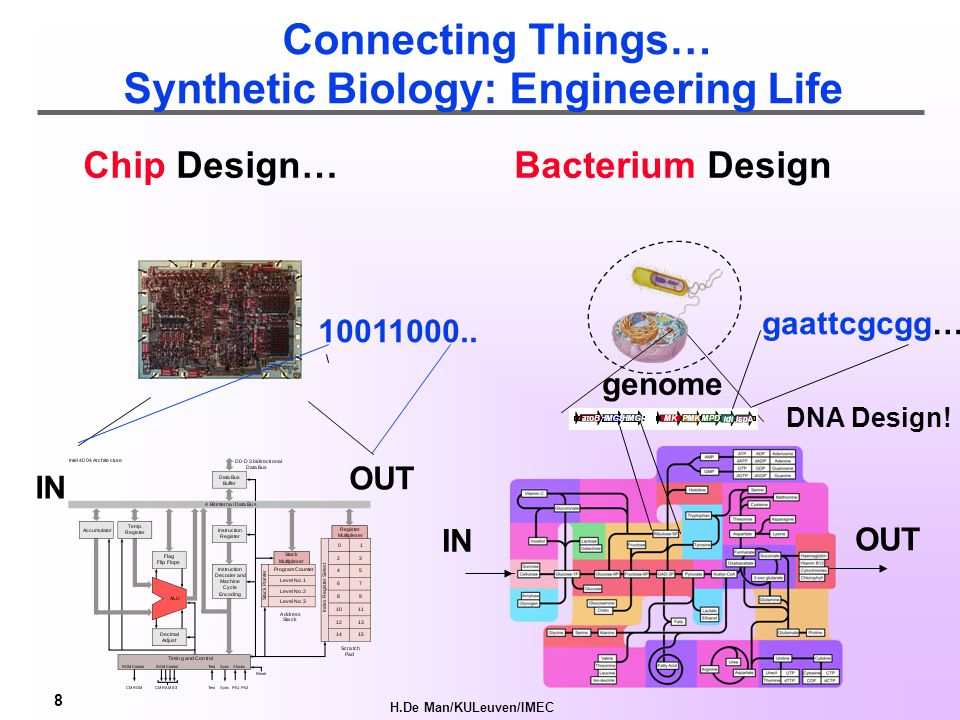 H.De Man/KULeuven/IMEC 8 Chip Design… Bacterium Design genome IN OUT IN OUT Connecting Things… Synthetic Biology: Engineering Life DNA Design.