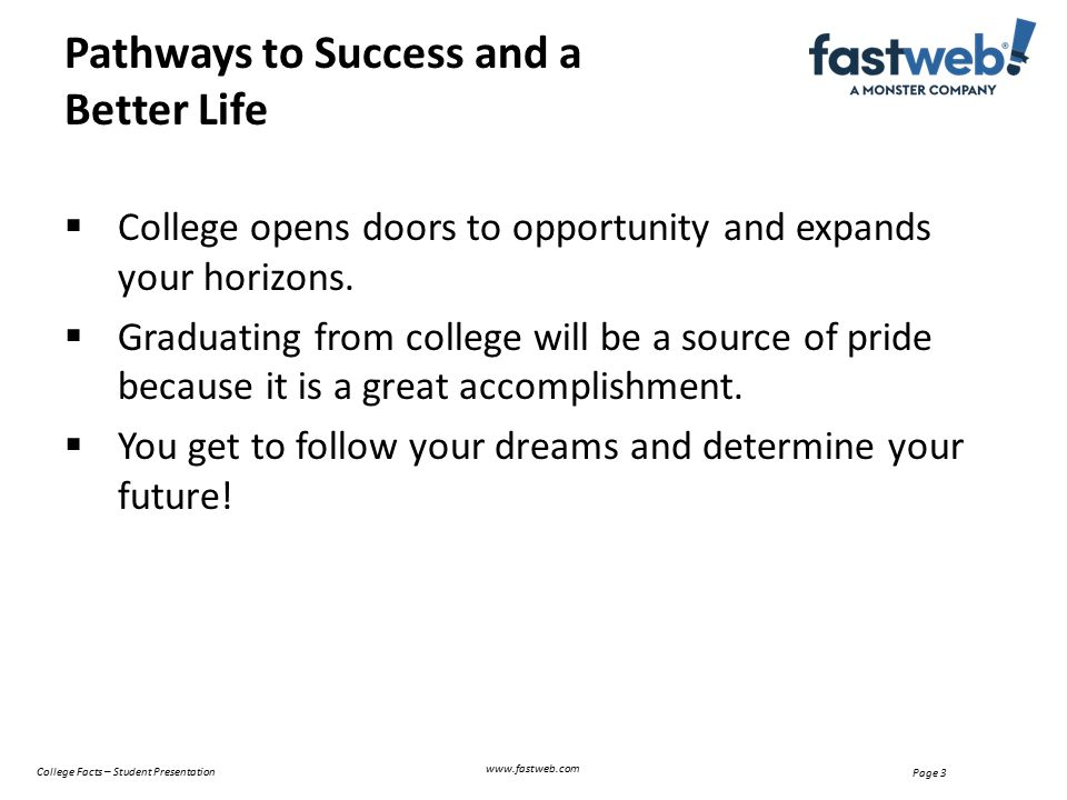 Page 4 College Graduates Earn More Money www.fastweb.com College Facts – Student Presentation