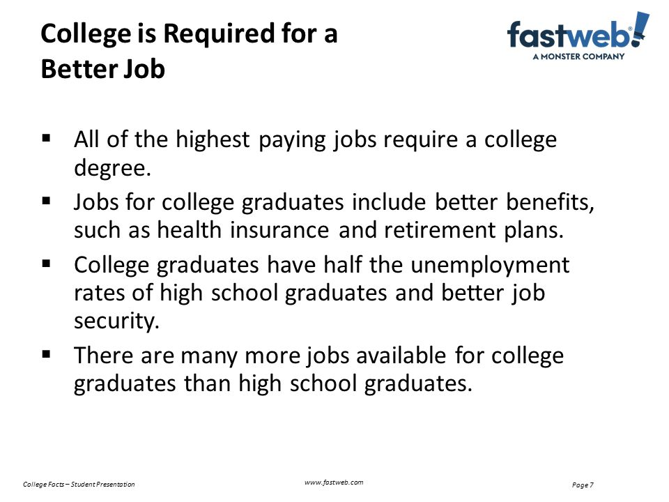  All of the highest paying jobs require a college degree.