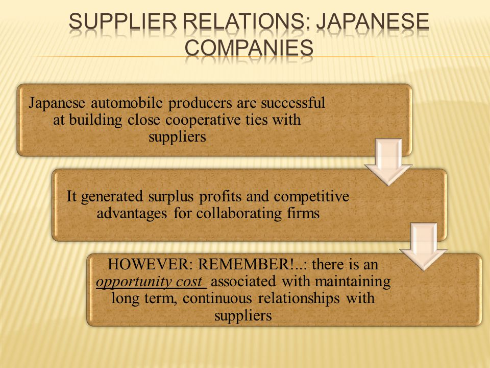 Japanese automobile producers are successful at building close cooperative ties with suppliers It generated surplus profits and competitive advantages for collaborating firms HOWEVER: REMEMBER!..: there is an opportunity cost associated with maintaining long term, continuous relationships with suppliers