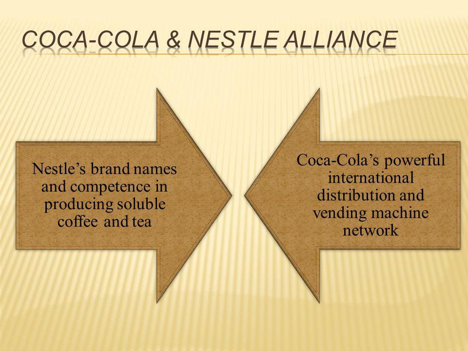 Nestle's brand names and competence in producing soluble coffee and tea Coca-Cola's powerful international distribution and vending machine network
