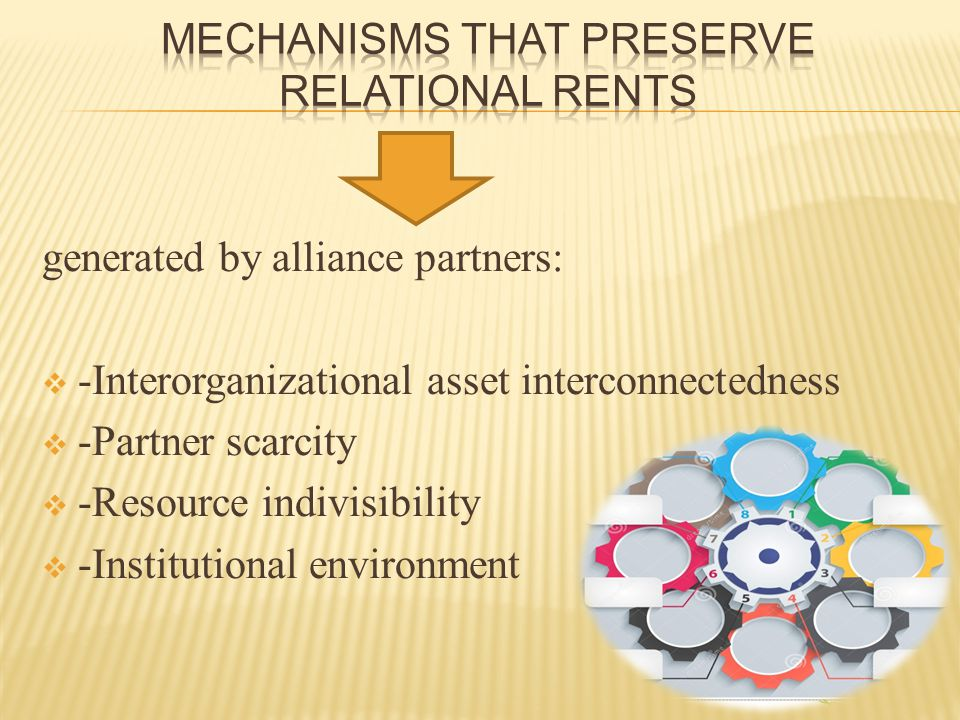 generated by alliance partners:  -Interorganizational asset interconnectedness  -Partner scarcity  -Resource indivisibility  -Institutional enviro