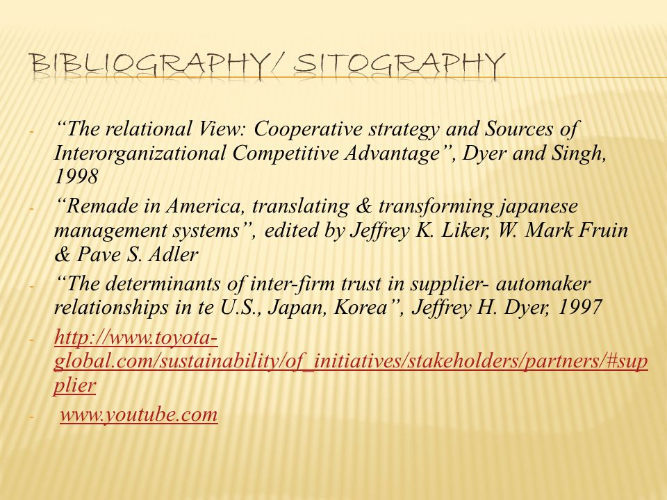 - The relational View: Cooperative strategy and Sources of Interorganizational Competitive Advantage , Dyer and Singh, 1998 - Remade in America, translating & transforming japanese management systems , edited by Jeffrey K.