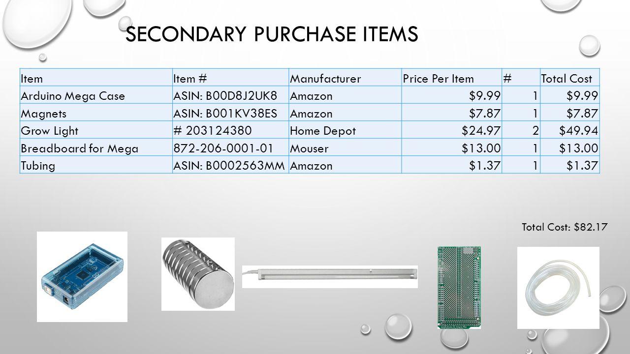 SECONDARY PURCHASE ITEMS ItemItem #ManufacturerPrice Per Item#Total Cost Arduino Mega CaseASIN: B00D8J2UK8Amazon$9.991 MagnetsASIN: B001KV38ESAmazon$7.871 Grow Light# 203124380Home Depot$24.972$49.94 Breadboard for Mega872-206-0001-01Mouser$13.001 TubingASIN: B0002563MMAmazon$1.371 Total Cost: $82.17