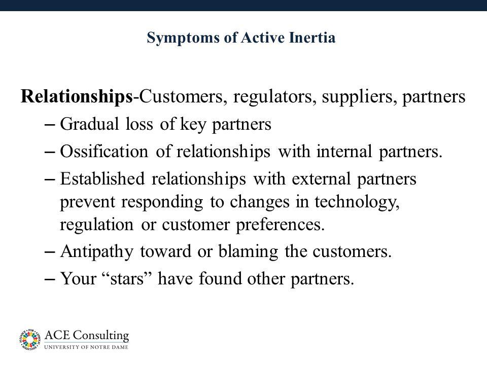 21 Symptoms of Active Inertia Relationships-Customers, regulators, suppliers, partners – Gradual loss of key partners – Ossification of relationships with internal partners.